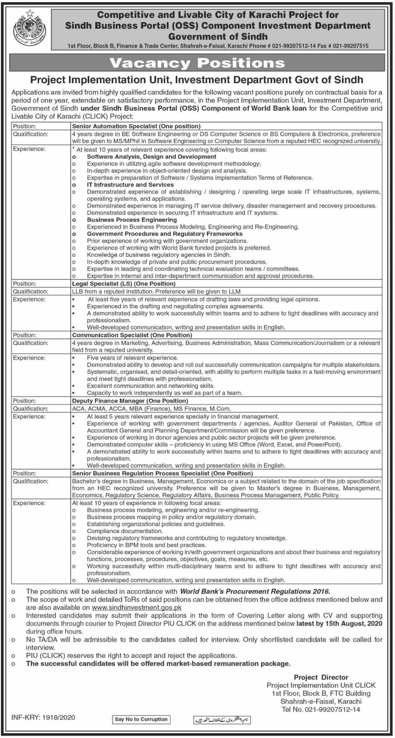 Project Implementation Unit Investment Department Govt Of Sindh Administration jobs july 2020.