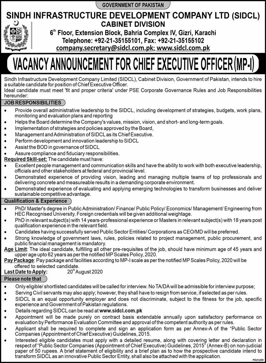 Sindh Infrastructure Development Company Limited Sidcul Cabinet Division Admin jobs july 2020.