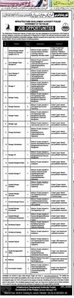 Infrastructure Development Authority Punjab Manager jobs august 2020
