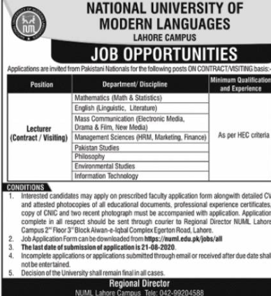 National University Of Modern Languages Lecturer jobs August 2020.