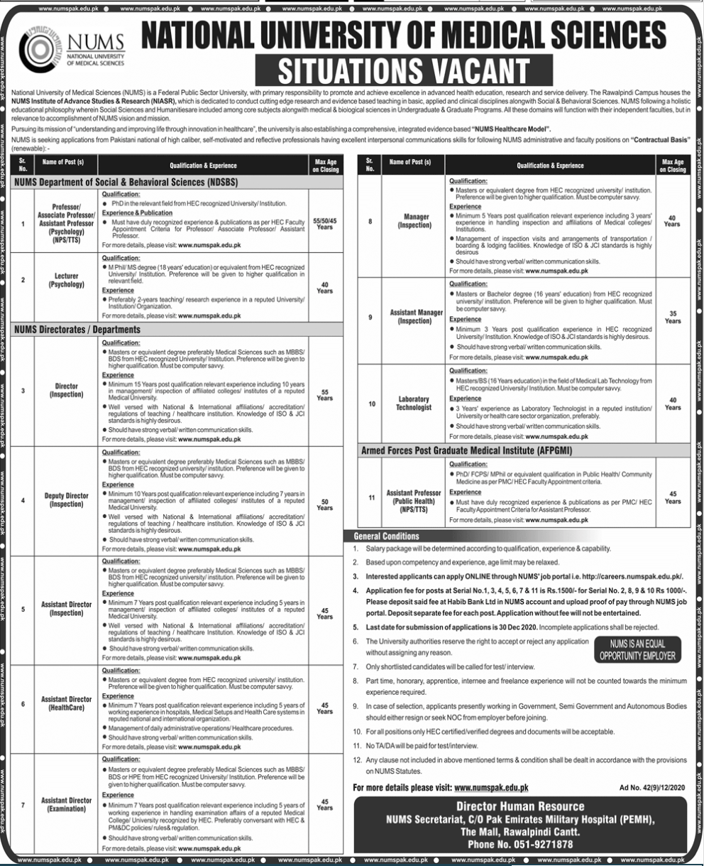 National University Of Medical Sciences Nums Teaching And Non Teaching Jobs Dec 2020.
