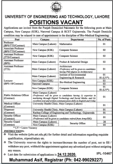 University Of Engineering And Technology Uet Lahore Teaching Jobs Dec 2020.