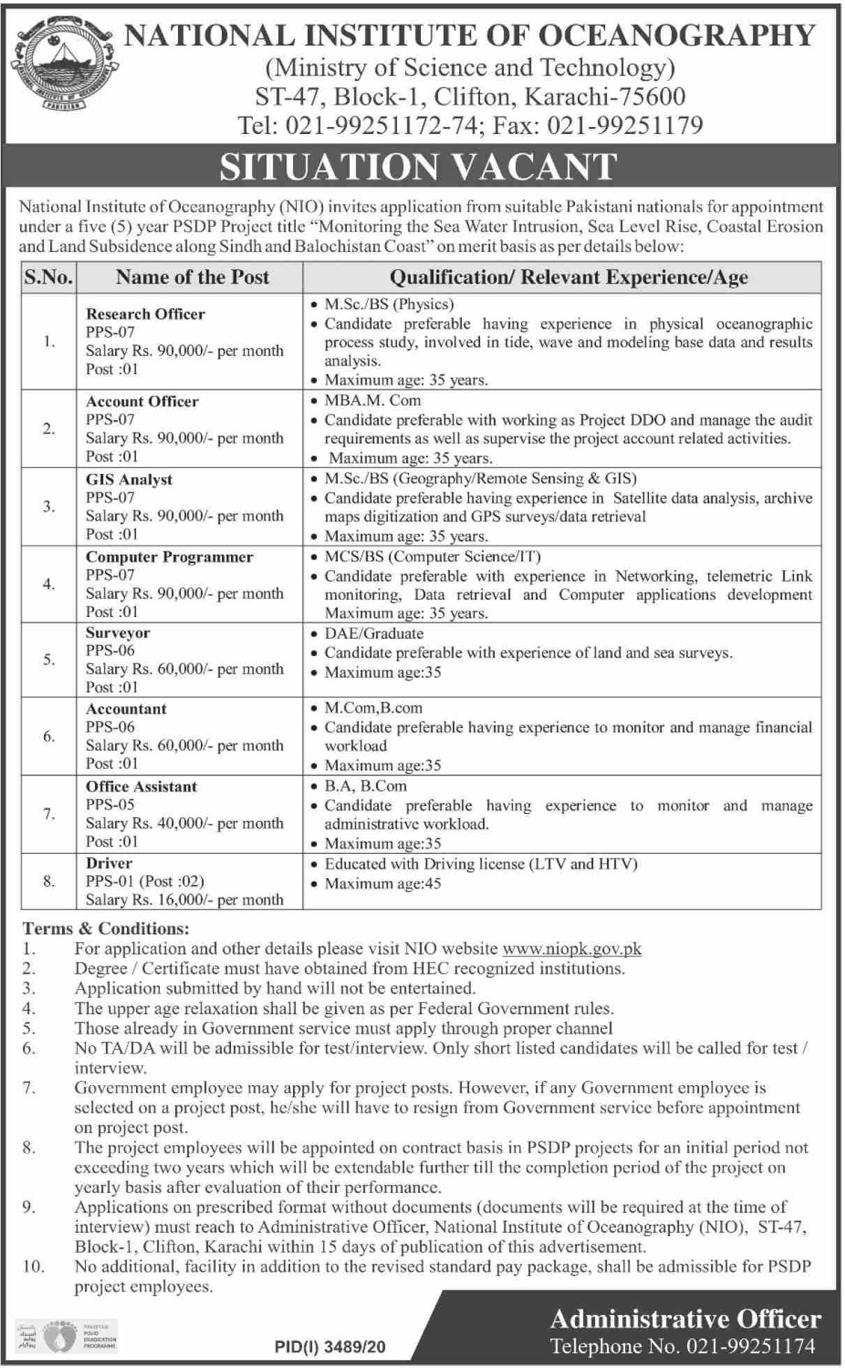 Ministry Of Science And Technology Accounts Jobs Jan 2021.