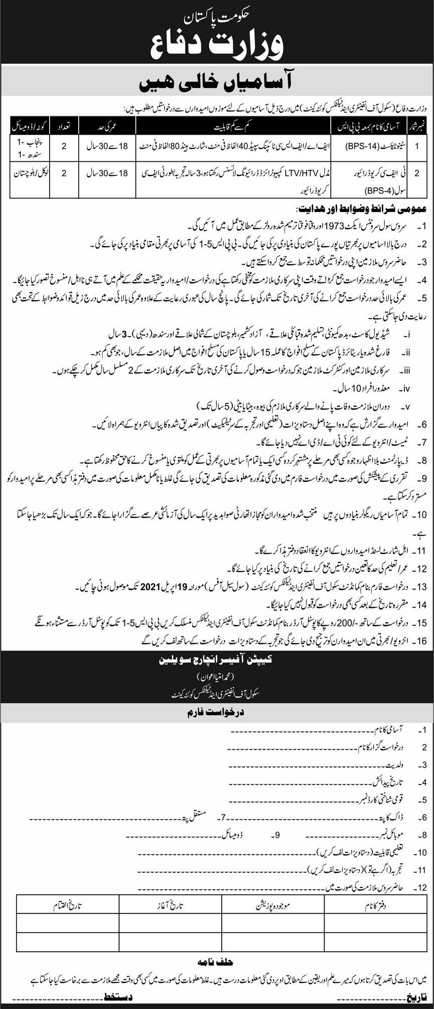 Jobs in Ministry of Defence Govt of Pakistan