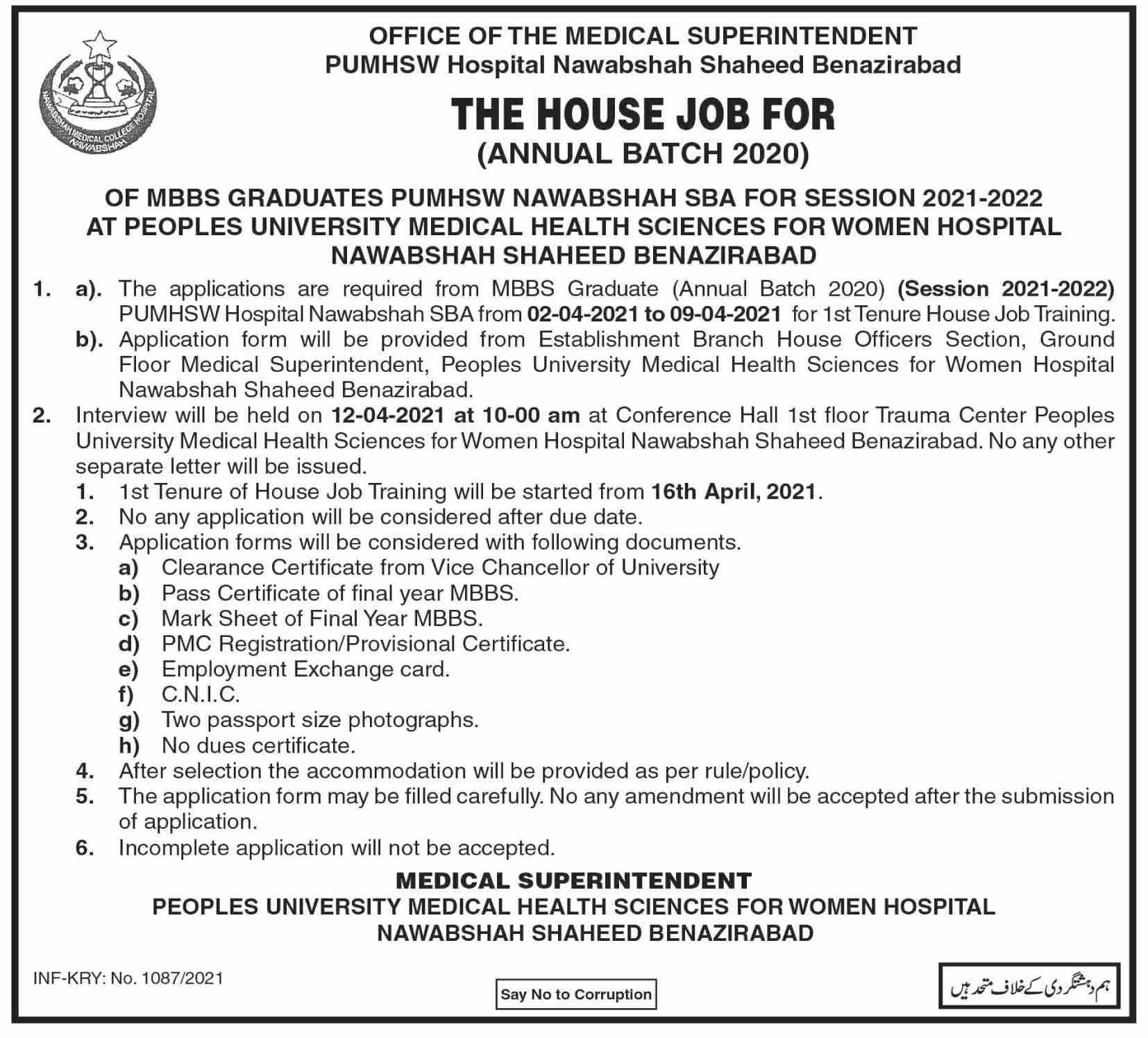Jobs in Peoples University of Medical and Health Sciences for Women