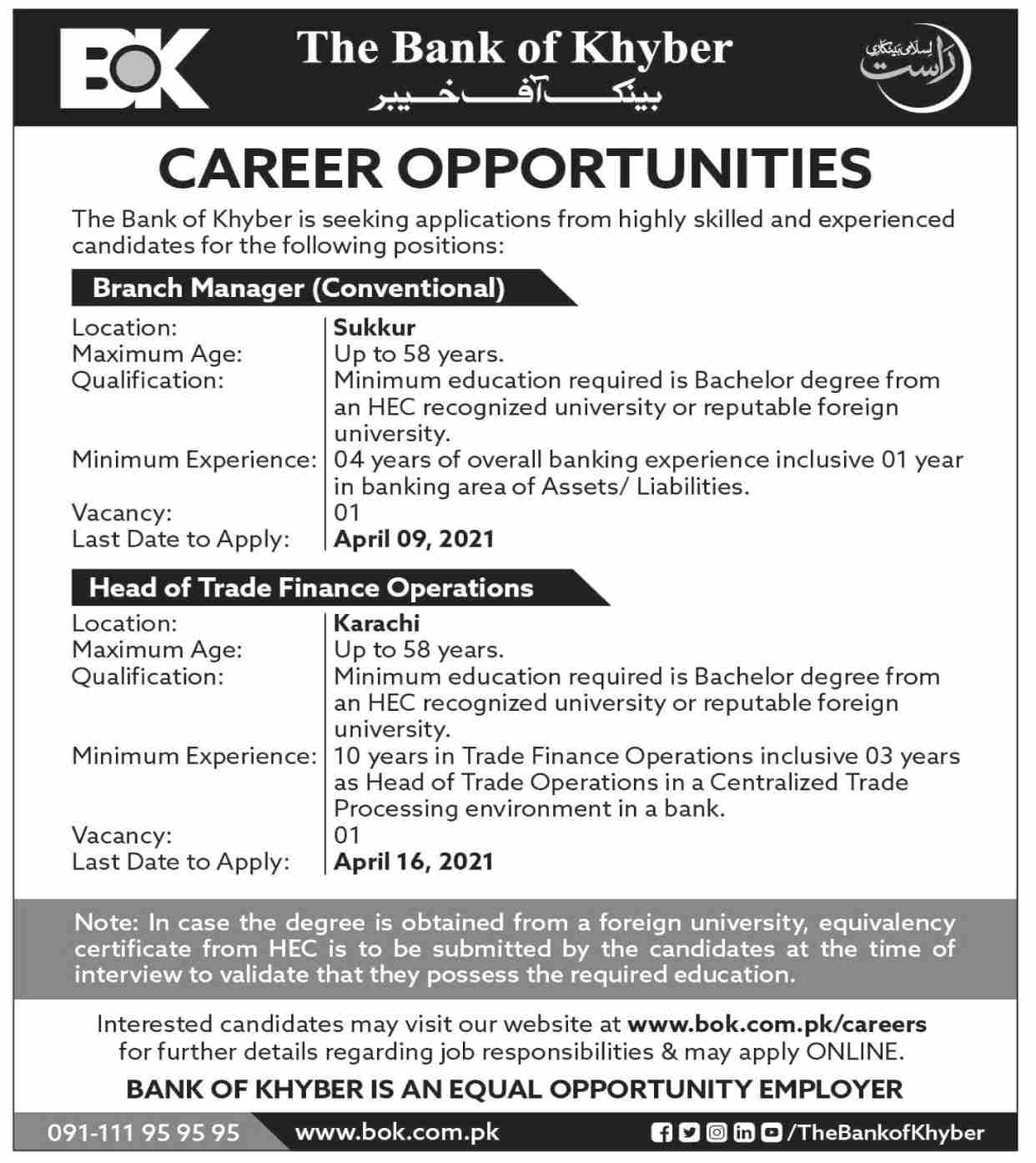 Jobs in The Bank of Khyber